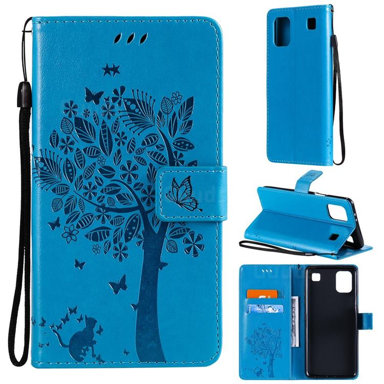 Embossing Butterfly Tree Leather Wallet Case for LG K92 5G - Blue