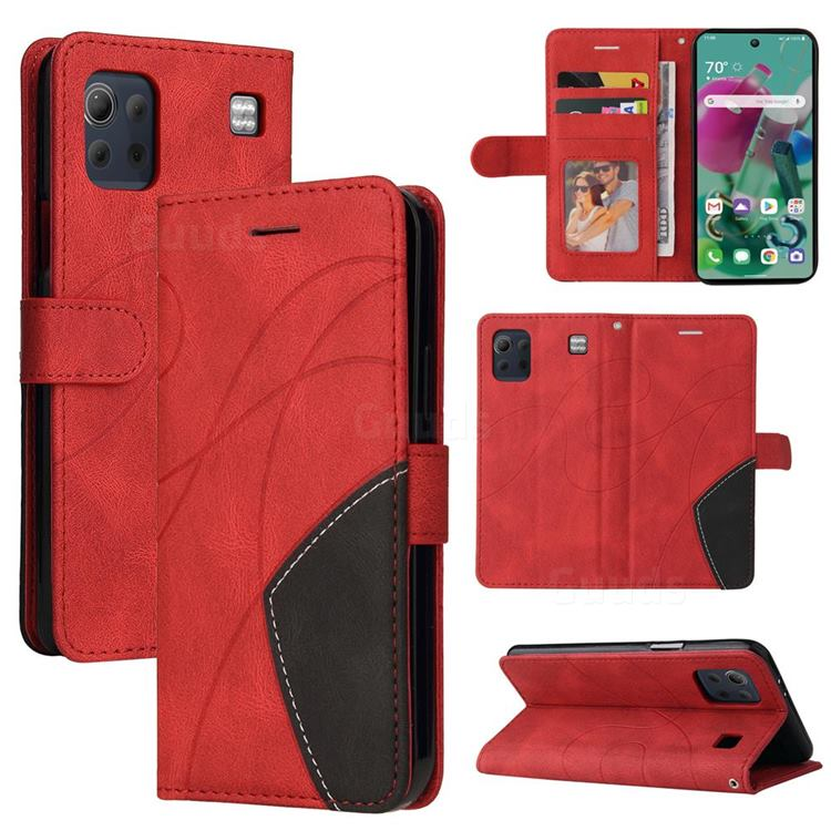Luxury Two-color Stitching Leather Wallet Case Cover for LG K92 5G - Red