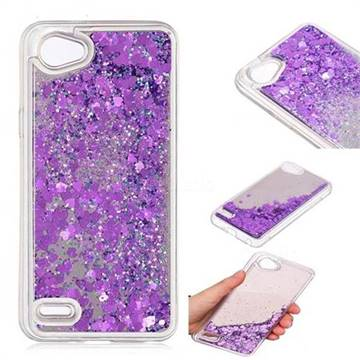 Glitter Sand Mirror Quicksand Dynamic Liquid Star TPU Case for LG Q6 (LG G6 Mini) - Purple