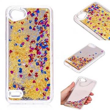 Glitter Sand Mirror Quicksand Dynamic Liquid Star TPU Case for LG Q6 (LG G6 Mini) - Yellow