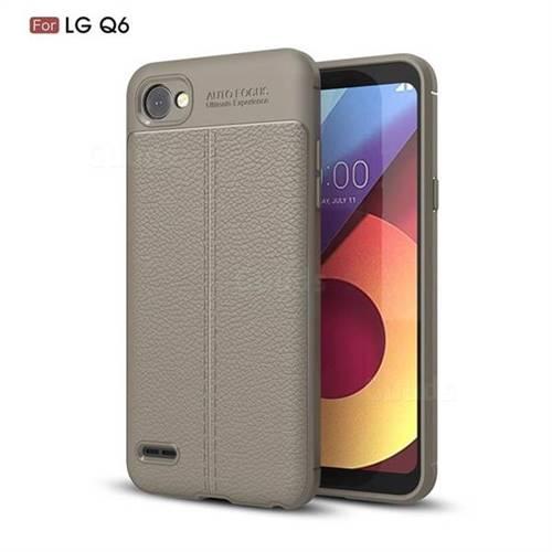 Luxury Auto Focus Litchi Texture Silicone TPU Back Cover for LG Q6 (LG G6 Mini) - Gray