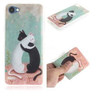 Black and White Cat IMD Soft TPU Cell Phone Back Cover for LG Q6 (LG G6 Mini)