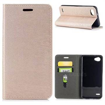 Tree Bark Pattern Automatic suction Leather Wallet Case for LG Q6 (LG G6 Mini) - Champagne Gold