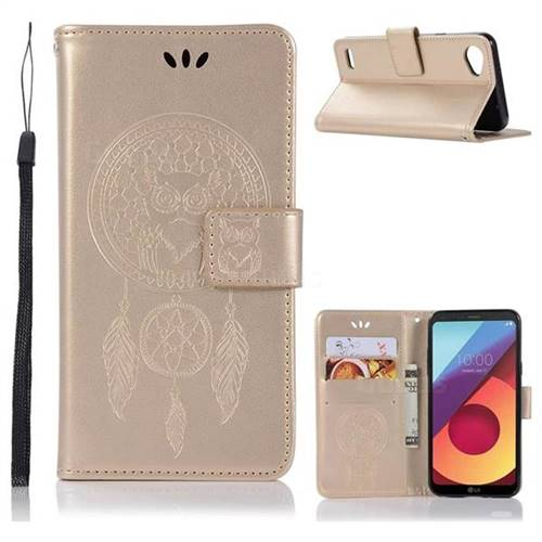 Intricate Embossing Owl Campanula Leather Wallet Case for LG Q6 (LG G6 Mini) - Champagne
