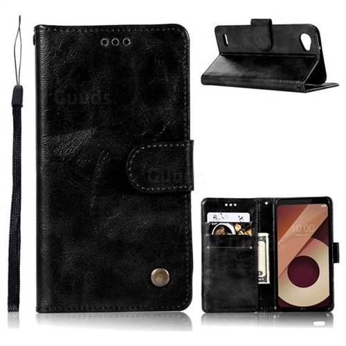 Luxury Retro Leather Wallet Case for LG Q6 (LG G6 Mini) - Black