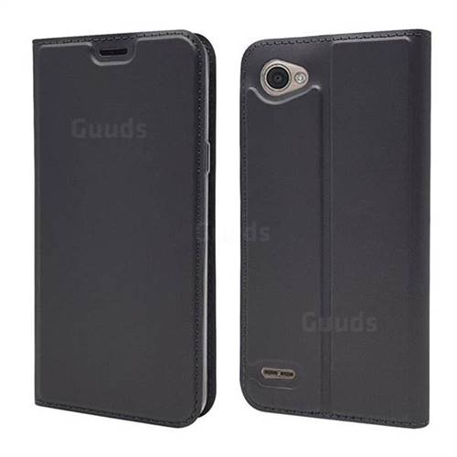 Ultra Slim Card Magnetic Automatic Suction Leather Wallet Case for LG Q6 (LG G6 Mini) - Star Grey
