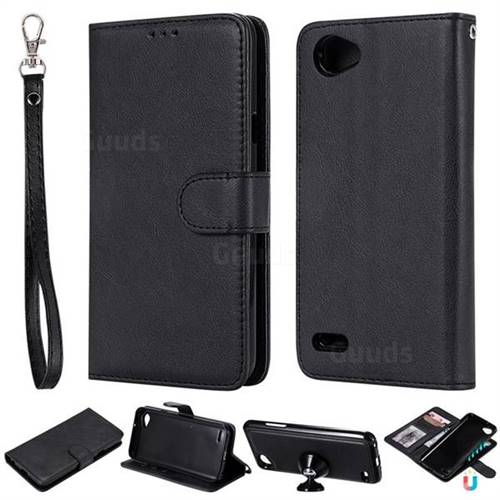 Retro Greek Detachable Magnetic PU Leather Wallet Phone Case for LG Q6 (LG G6 Mini) - Black
