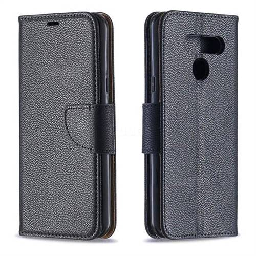 Classic Luxury Litchi Leather Phone Wallet Case for LG Q60 - Black