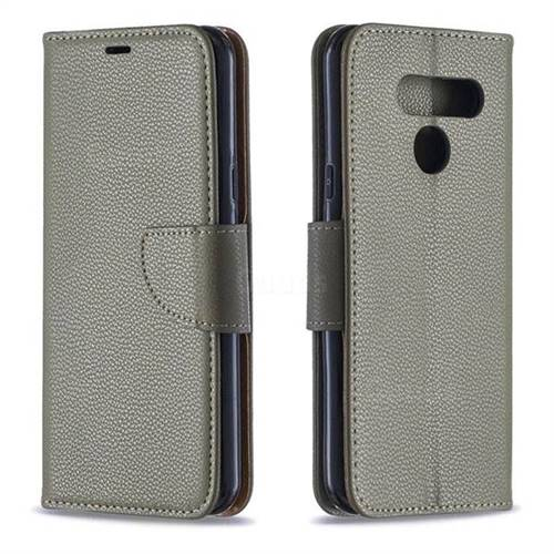 Classic Luxury Litchi Leather Phone Wallet Case for LG Q60 - Gray