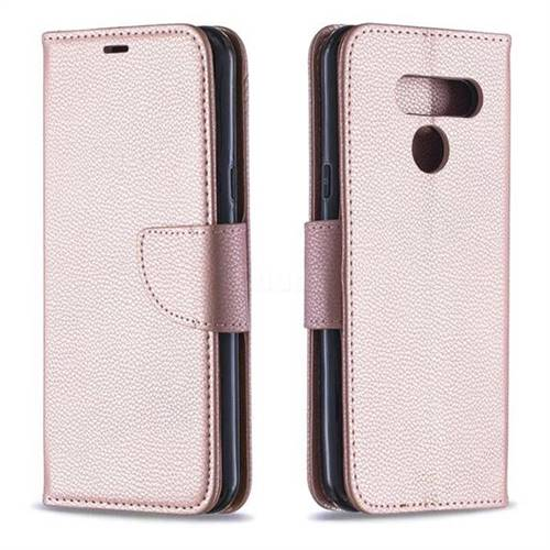 Classic Luxury Litchi Leather Phone Wallet Case for LG Q60 - Golden