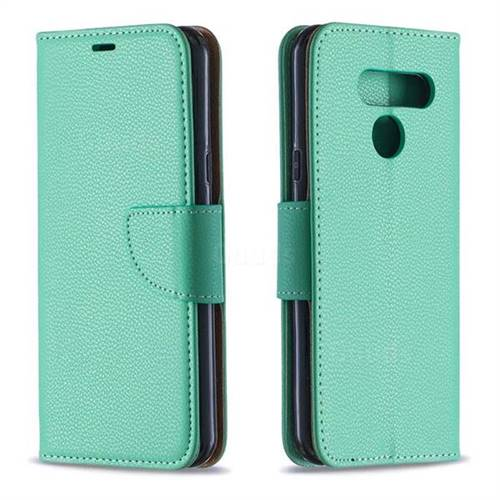 Classic Luxury Litchi Leather Phone Wallet Case for LG Q60 - Green