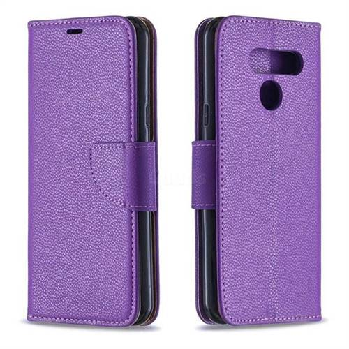 Classic Luxury Litchi Leather Phone Wallet Case for LG Q60 - Purple