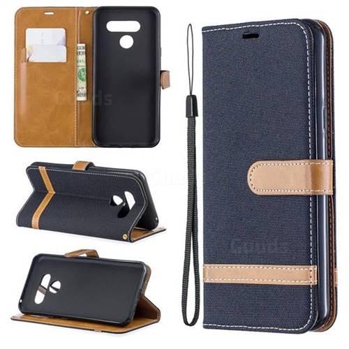 Jeans Cowboy Denim Leather Wallet Case for LG Q60 - Black
