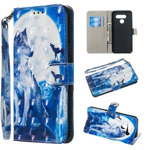 Ice Wolf 3D Painted Leather Wallet Phone Case for LG Q60