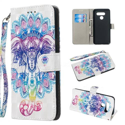 Colorful Elephant 3D Painted Leather Wallet Phone Case for LG Q60