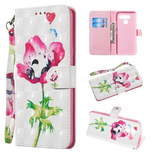 Flower Panda 3D Painted Leather Wallet Phone Case for LG Q60