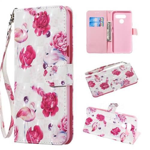 Flamingo 3D Painted Leather Wallet Phone Case for LG Q60