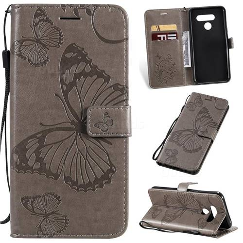 Embossing 3D Butterfly Leather Wallet Case for LG Q60 - Gray