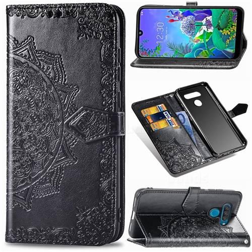 Embossing Imprint Mandala Flower Leather Wallet Case for LG Q60 - Black