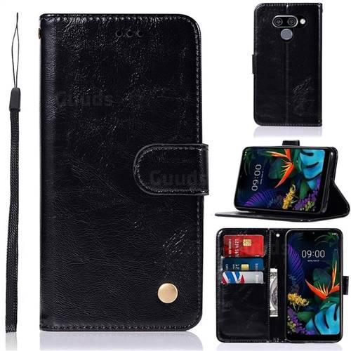 Luxury Retro Leather Wallet Case for LG Q60 - Black