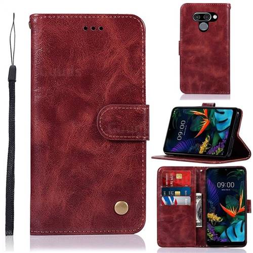 Luxury Retro Leather Wallet Case for LG Q60 - Wine Red