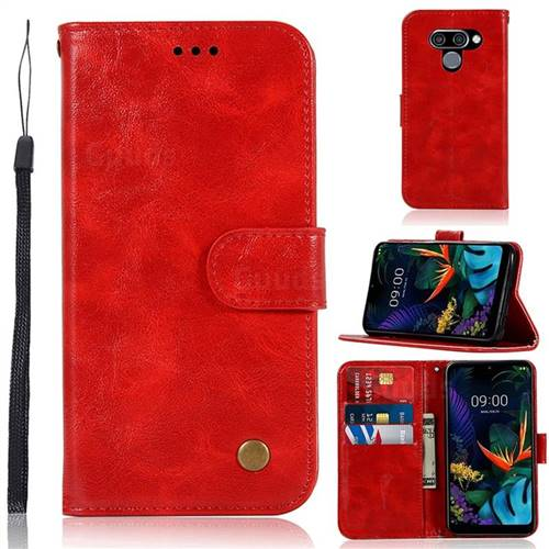 Luxury Retro Leather Wallet Case for LG Q60 - Red
