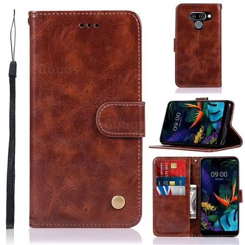 Luxury Retro Leather Wallet Case for LG Q60 - Brown