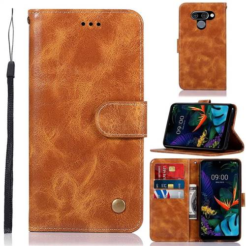 Luxury Retro Leather Wallet Case for LG Q60 - Golden