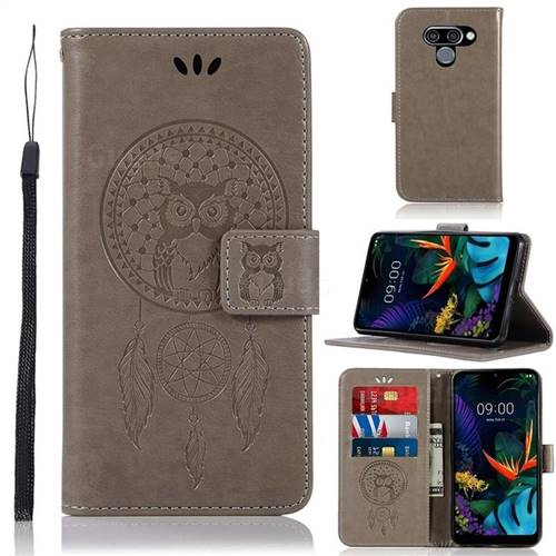 Intricate Embossing Owl Campanula Leather Wallet Case for LG Q60 - Grey