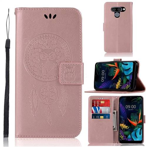 Intricate Embossing Owl Campanula Leather Wallet Case for LG Q60 - Rose Gold
