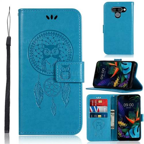 Intricate Embossing Owl Campanula Leather Wallet Case for LG Q60 - Blue