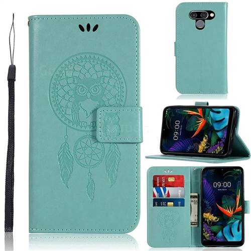 Intricate Embossing Owl Campanula Leather Wallet Case for LG Q60 - Green