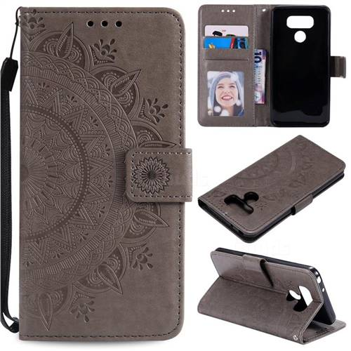 Intricate Embossing Datura Leather Wallet Case for LG Q60 - Gray