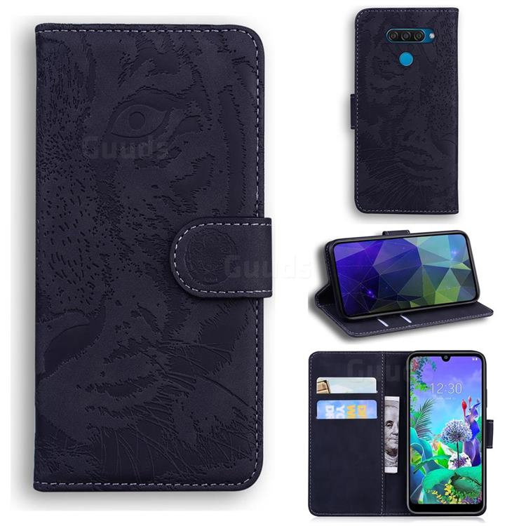 Intricate Embossing Tiger Face Leather Wallet Case for LG Q60 - Black
