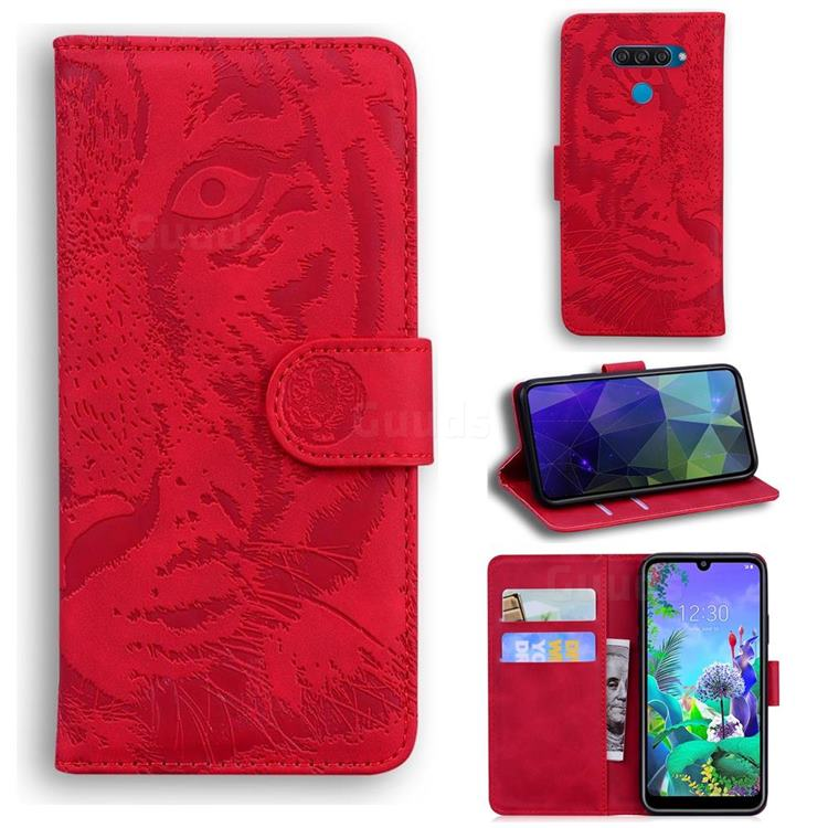 Intricate Embossing Tiger Face Leather Wallet Case for LG Q60 - Red
