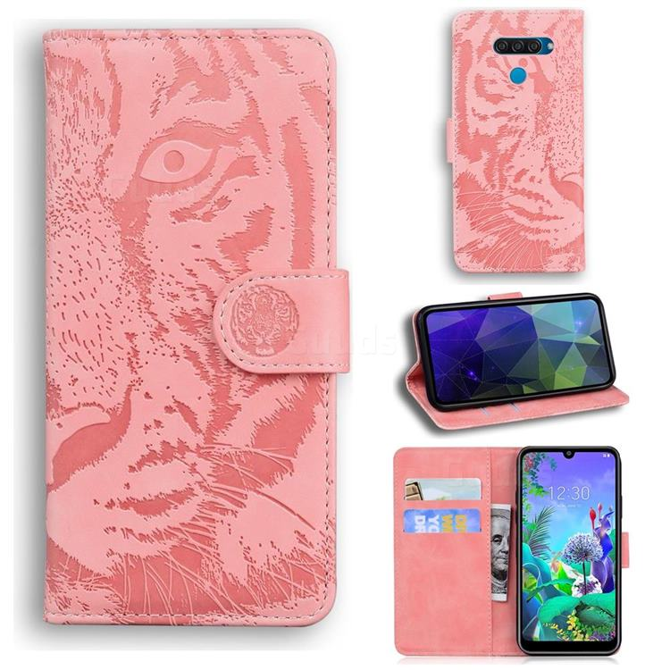 Intricate Embossing Tiger Face Leather Wallet Case for LG Q60 - Pink