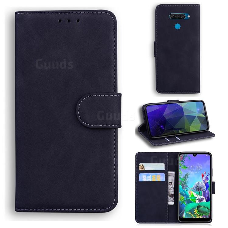 Retro Classic Skin Feel Leather Wallet Phone Case for LG Q60 - Black
