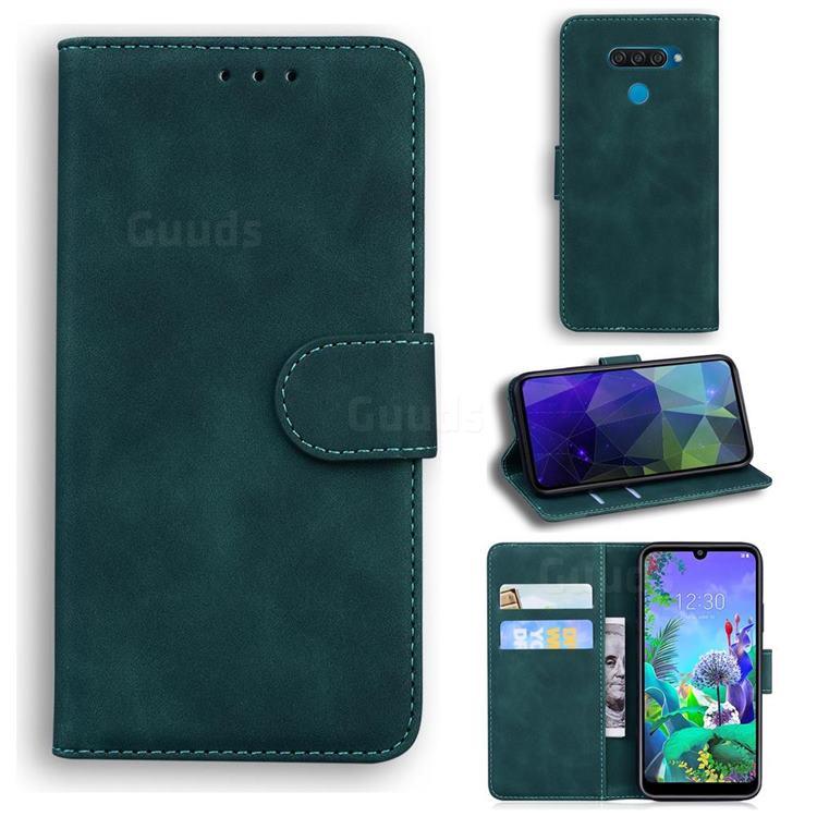Retro Classic Skin Feel Leather Wallet Phone Case for LG Q60 - Green