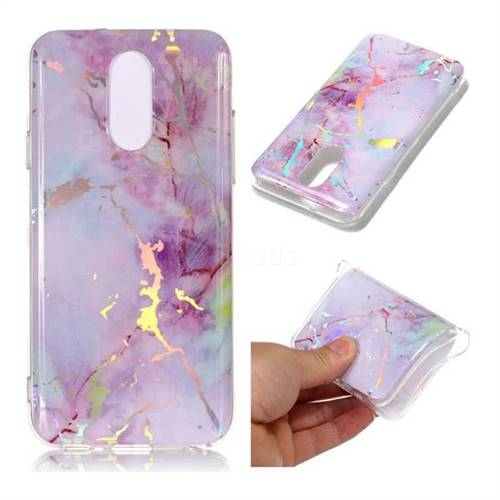 Pink Purple Marble Pattern Bright Color Laser Soft TPU Case for LG Q7 / Q7+ / Q7 Alpha / Q7α