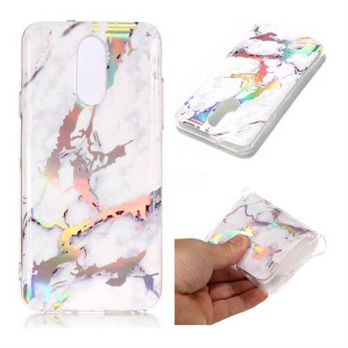 White Marble Pattern Bright Color Laser Soft TPU Case for LG Q7 / Q7+ / Q7 Alpha / Q7α