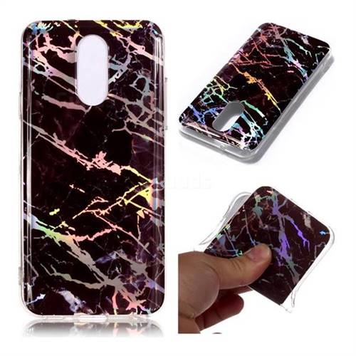 Black Brown Marble Pattern Bright Color Laser Soft TPU Case for LG Q7 / Q7+ / Q7 Alpha / Q7α