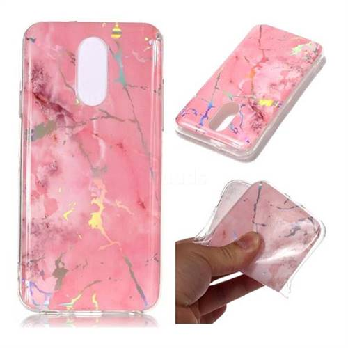 Powder Pink Marble Pattern Bright Color Laser Soft TPU Case for LG Q7 / Q7+ / Q7 Alpha / Q7α