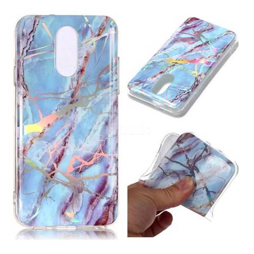 Light Blue Marble Pattern Bright Color Laser Soft TPU Case for LG Q7 / Q7+ / Q7 Alpha / Q7α