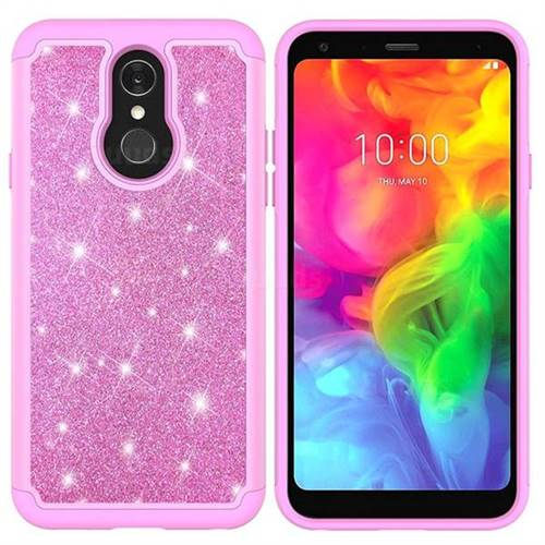 sale retailer 328b8 2fe32 Glitter Rhinestone Bling Shock Absorbing Hybrid Defender Rugged Phone Case  Cover for LG Q7 / Q7+ / Q7 Alpha / Q7α - Pink