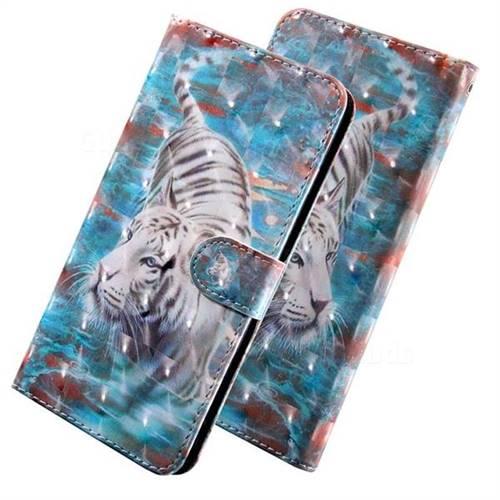 White Tiger 3D Painted Leather Wallet Case for LG Q7 / Q7+ / Q7 Alpha / Q7α