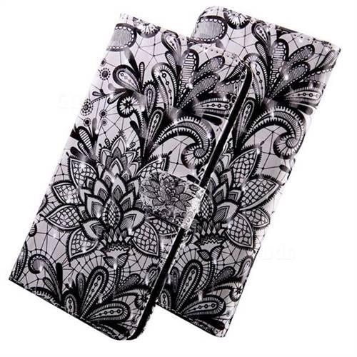 Black Lace Rose 3D Painted Leather Wallet Case for LG Q7 / Q7+ / Q7 Alpha / Q7α