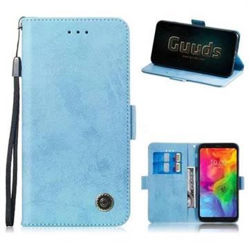 Retro Classic Leather Phone Wallet Case Cover for LG Q7 / Q7+ / Q7 Alpha /  Q7α - Light Blue
