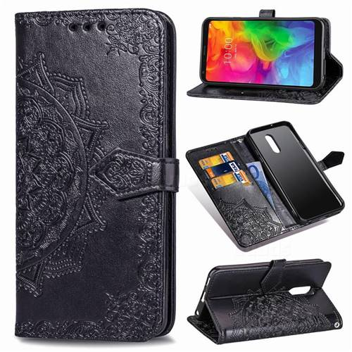 Embossing Imprint Mandala Flower Leather Wallet Case for LG Q7 / Q7+ / Q7 Alpha / Q7α - Black