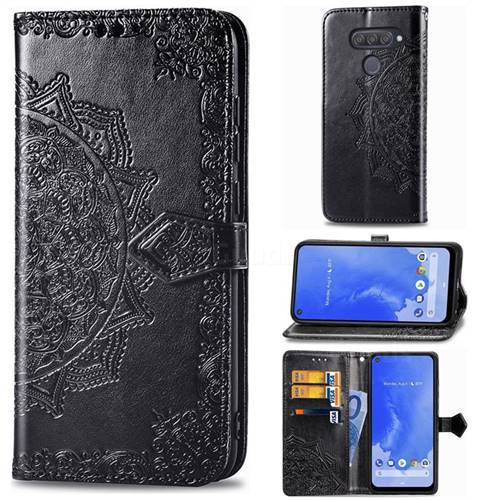 Embossing Imprint Mandala Flower Leather Wallet Case for LG Q70 - Black