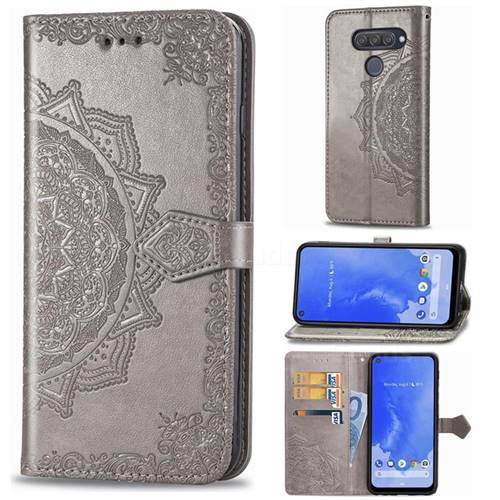 Embossing Imprint Mandala Flower Leather Wallet Case for LG Q70 - Gray